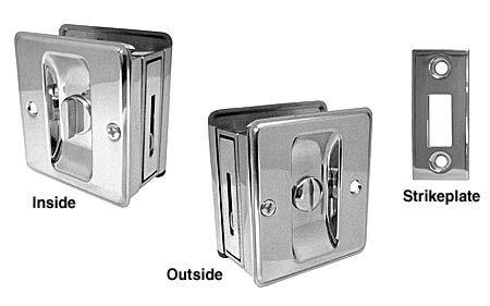 master bath pocket door: #IVE-991B26 Ives Privacy Pocket Door Latch - EACH (Polished Chrome)