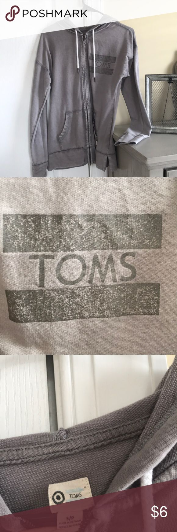 Toms, grey zip up sweater Toms, grey zip up sweater! Very comfortable Toms Sweaters