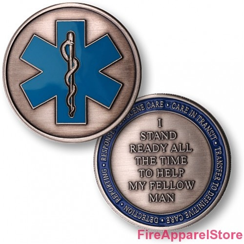 Emergency Medical Services EMS Star of Life Challenge Coin  http://firefighterapparelstore.com