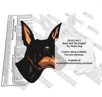 05-WC-0471 - English Toy Terrier Black and Tan Dog Intarsia or Yard Art WoodPattern