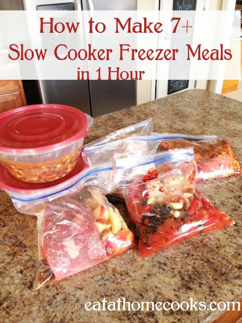 How to Make 7+ Slow Cooker Freezer Meals in 1 Hour