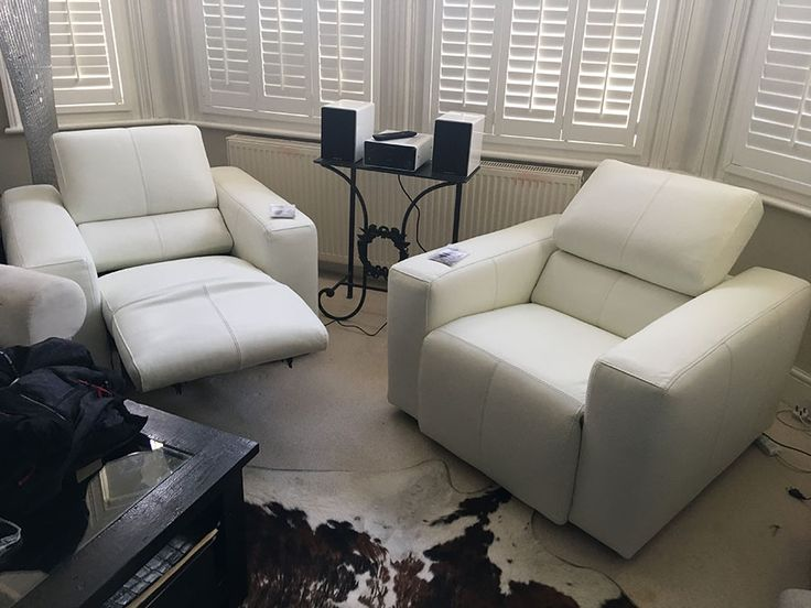 Binari White Leather Armchairs. Electric Reclining Armchairs With  Adjustable Headrest. Delivered To Our Client