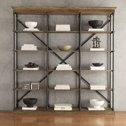 Lubeck Vintage Oak Wide Bookshelf HomeHills Free Standing Shelves & Bookcases Home Office