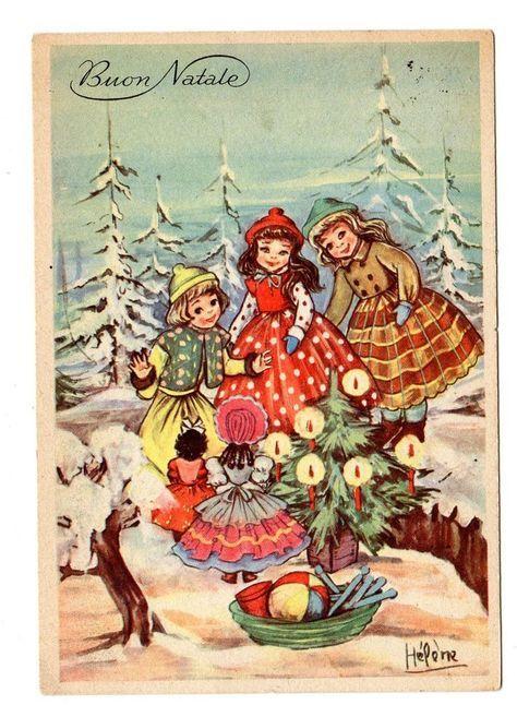 Biglietti Buon Natale Bambini.Antica Cartolina Buon Natale Epoca 1956 Illustratore Helene Bambini