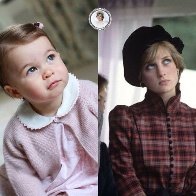 two pictures of Princess Diana in 1981, and her granddaughter Princess Charlotte Elizabeth Diana 2016