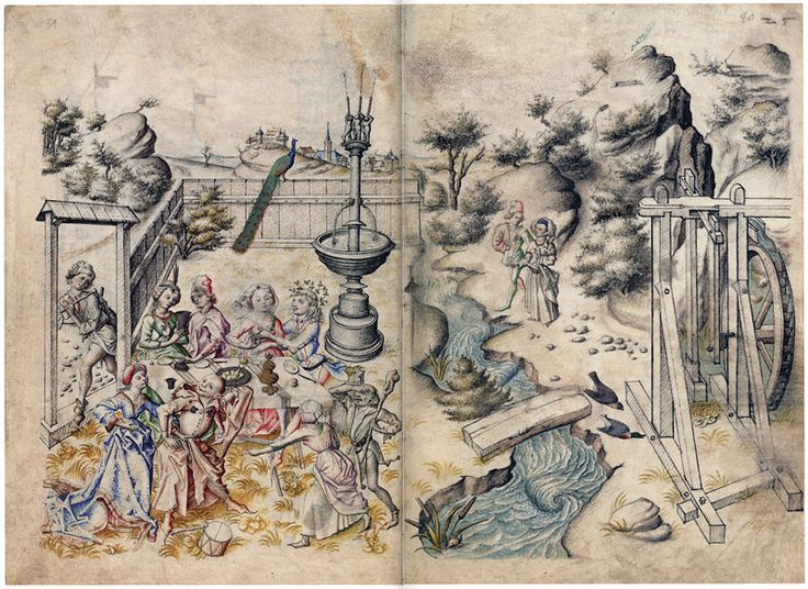 Hausbuch Wolfegg 24v 25r Liebesgarten - Master of the Housebook - Wikipedia, the free encyclopedia