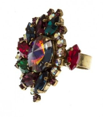 Handmade bronze metal plated ring with Swarovski crystals and strasses, by Art Wear Dimitriadis