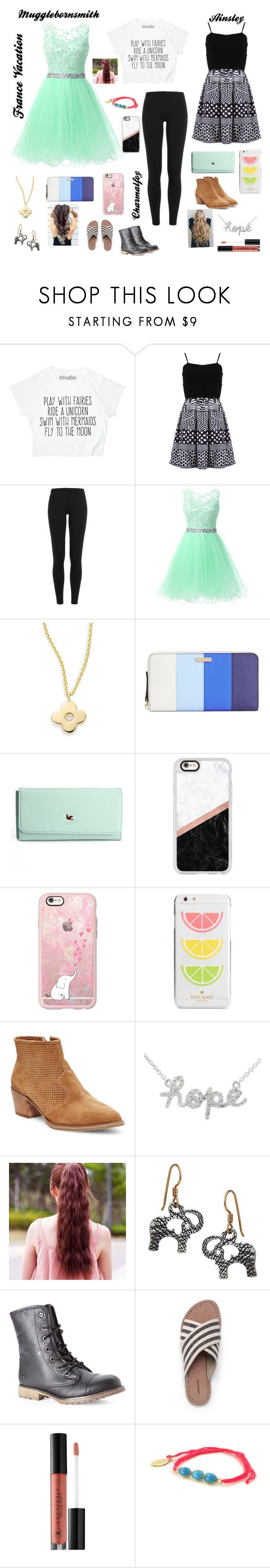 """""""Dinner Night 1 (in France)"""" by ainsleyhaas on Polyvore featuring FRACOMINA, Polo Ralph Lauren, KC Designs, Kate Spade, Casetify, Steven by Steve Madden, Sydney Evan, Dirty Laundry, Lands' End and Anastasia Beverly Hills"""