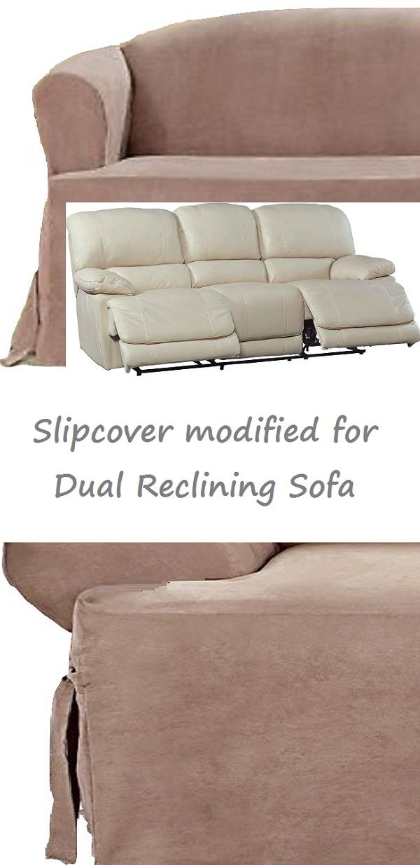 Dual Reclining SOFA Slipcover T Cushion Suede Taupe Adapted For Recliner  Couch