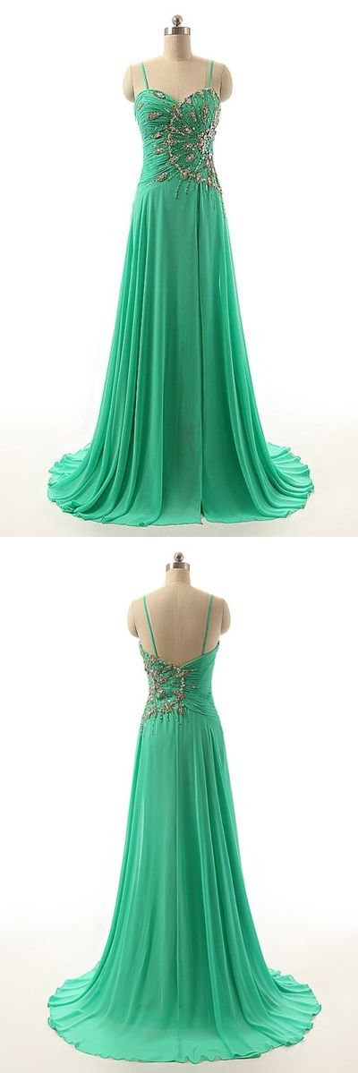 Spaghetti Straps Prom Dress,Sexy Long Prom Dress,A Line Beaded Prom Dress,Elegant Prom Dress,Prom Dresses 2017,Green Evening Dress