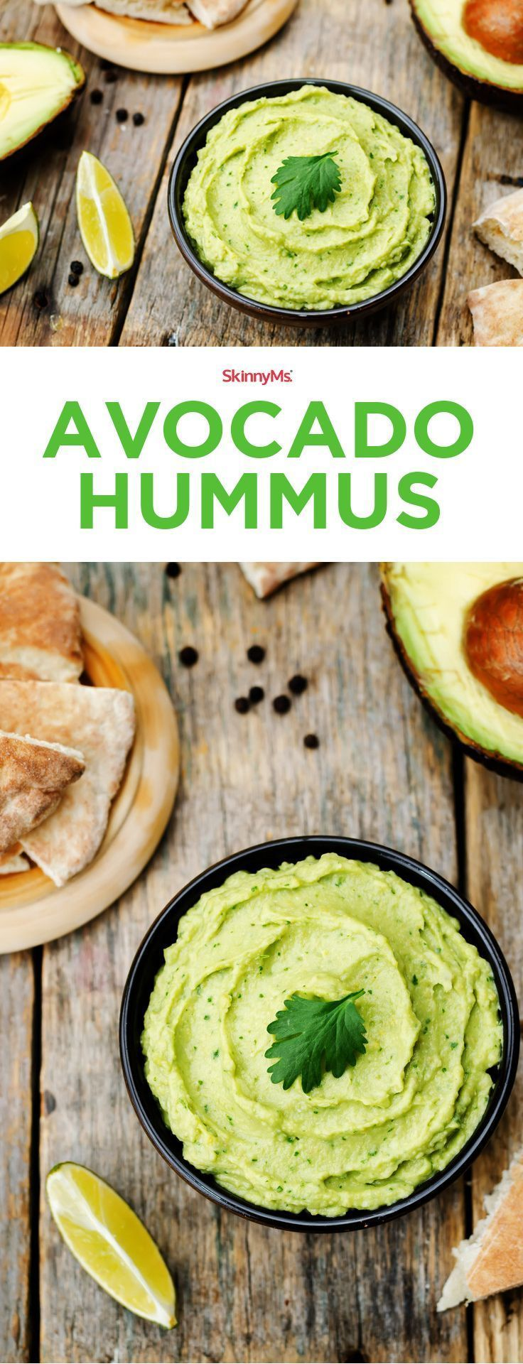 Our Avocado Hummus also makes a guilt-free snack you can enjoy any time of day! #hummus #skinnyms