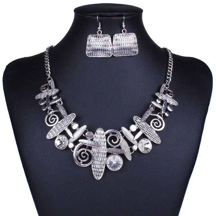 Qiyun (TM) Unique Art Tribal Abstract Pattern Bib Choker Necklace Earrings Jewelry Set #JewelrySet #JewelryFashion