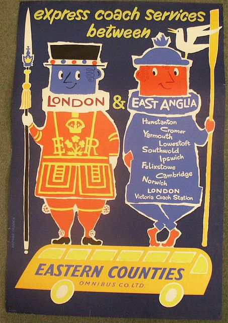 https://flic.kr/p/4nTtqF | Eastern Counties coach services | Vintage travel poster by Daphne Padden