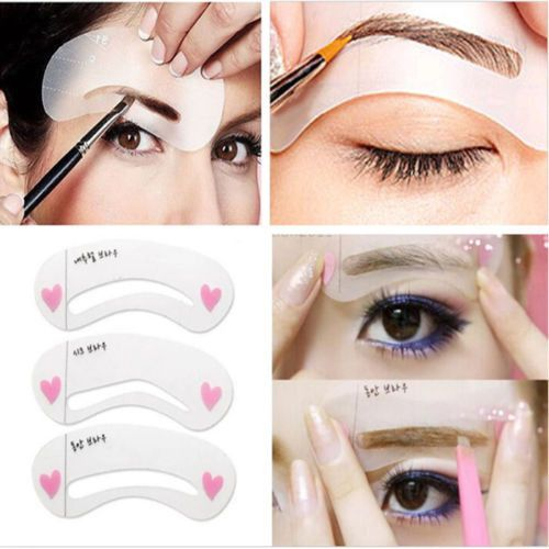 3 styles/set Grooming Stencil Kit Shaping DIY Beauty Eyebrow Template Make Up Tool