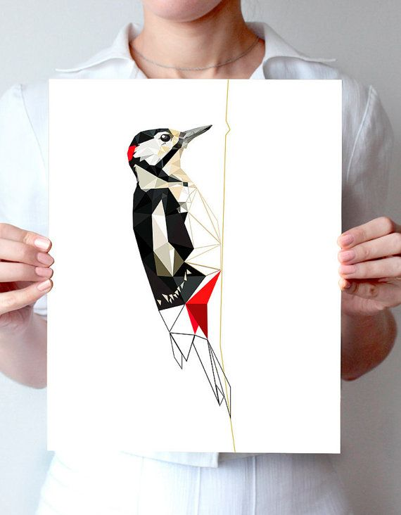B42  woodpecker  Geometric  Bird art  black red by villavera