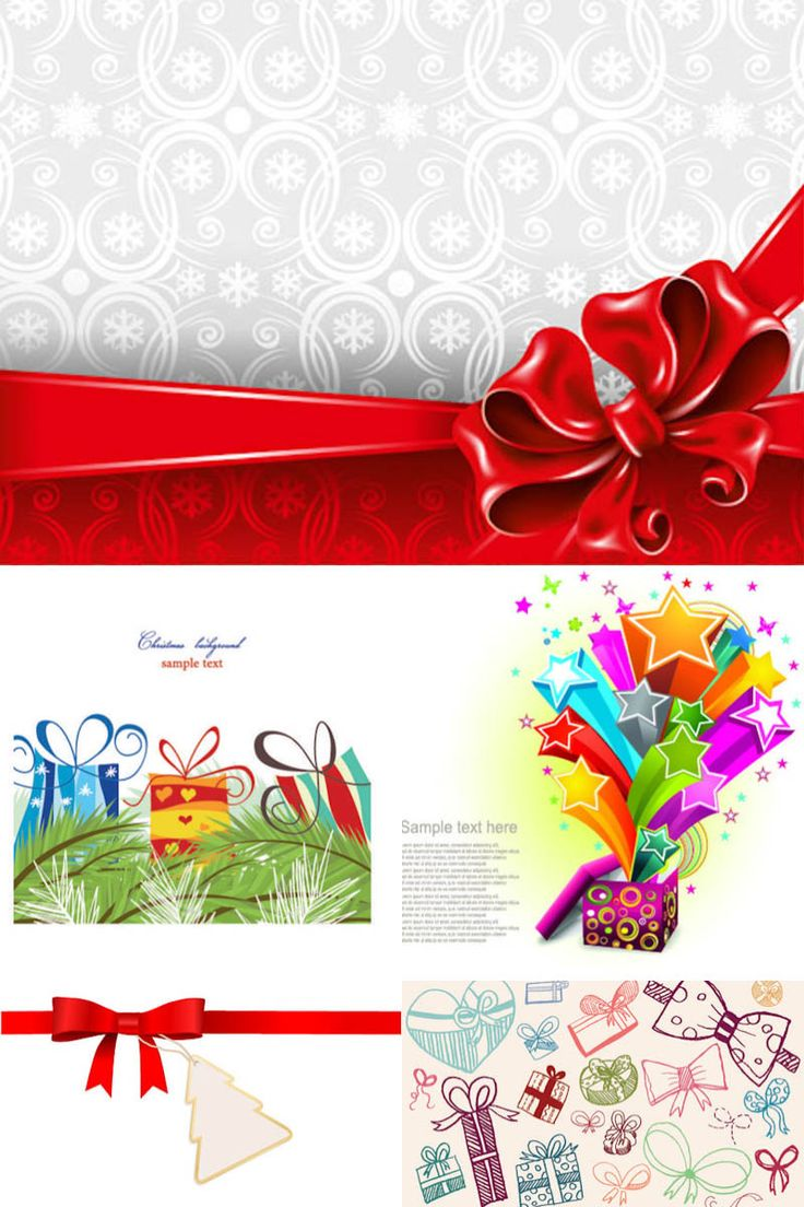 Set Of Vector Christmas Card Backgrounds With Red Ribbon And Bow, Gift  Boxes Illustrations For Your Christmas Greeting Cards, Brochures And  Posters.