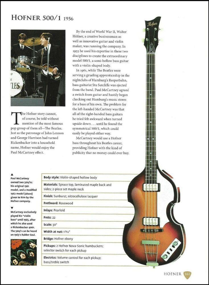 Beatles Paul Mccartney Hofner 500 1 Bass 9 X 7 Guitar Article With Specs Hofner Guitare