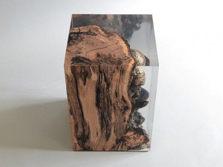 Fungi Side Table - wood and resin www.alcarol.com