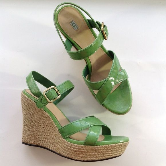 NEW UGG green espadrille wedge sandals 11 Details coming. Please check my closet over the next few weeks for new high end and designer shoes and booties in all sizes! Like items for first notification of price reductions! UGG Shoes Espadrilles