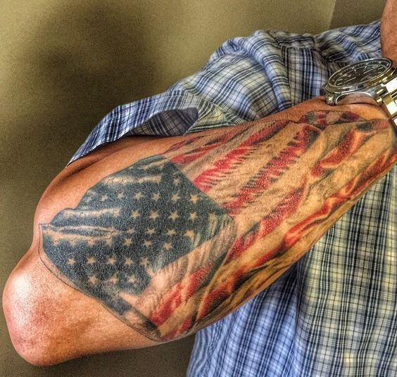 Mysterious American Flag Sleeve Tattoos For Men