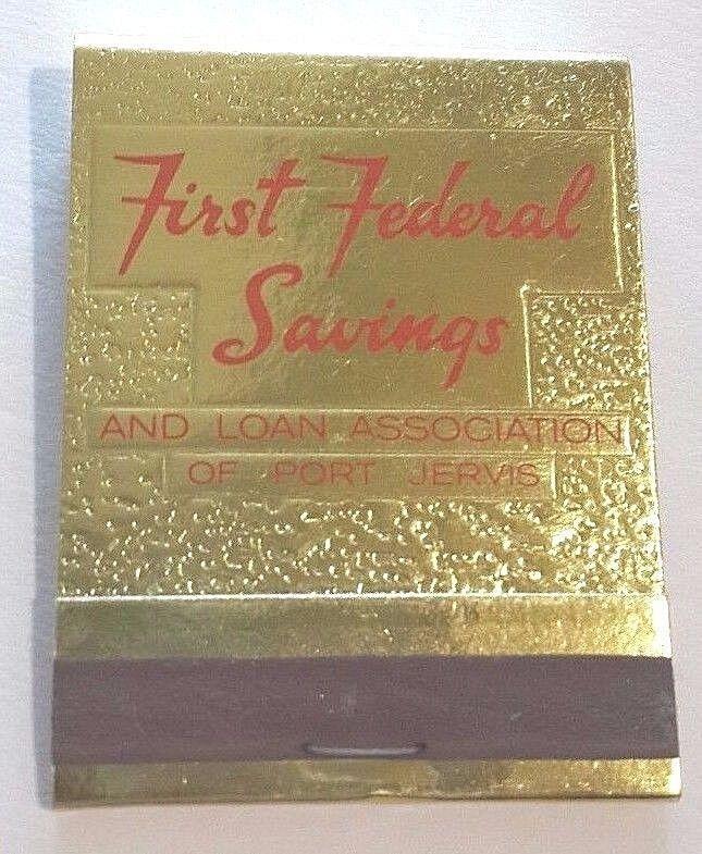 First Federal Matchbook FS Saving Bank Foil Sussex Port Jervis Monticello NY Vtg #Frontstrikefoilmatchbook