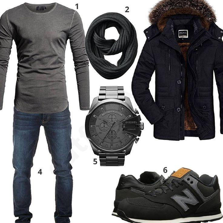 Grau-Schwarzes Herrenoutfit mit Parka und Schal (m0779) #outfit #style #herrenmode #männermode #fashion #menswear #herren #männer #mode #menstyle #mensfashion #menswear #inspiration #cloth #ootd #herrenoutfit #männeroutfit