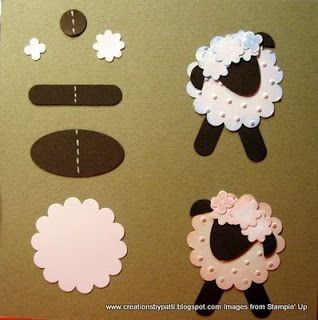 Melissa's Stampin' For Fun: More Punch Art Sheep, flower, burger, hippo