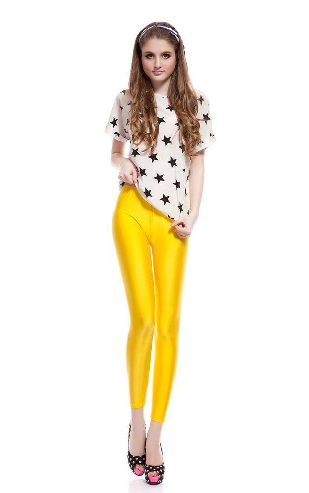 81255decac878 women yellow shiny satin lycra spandex leggings XXXL … | shiny ...