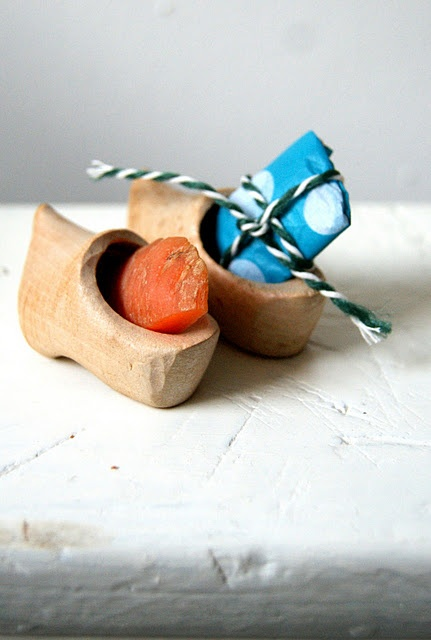 On the 5th of December Dutch children put out wooden shoes with a gift for Sinter Klaas and a carrot for his horse.