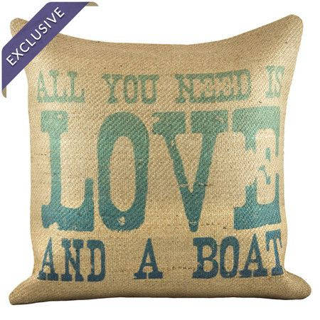 Burlap pillow with typographic motif. Handmade in the USA exclusively for Joss & Main. Product: PillowConstruction Mater...