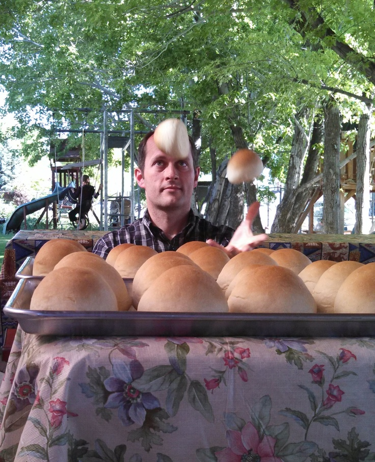Nothing quite like fresh rolls at a picnic. Yummy!