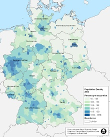 Map population density in Germany 2006