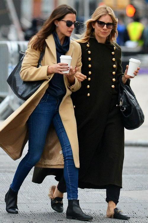 Sienna Miller wearing Givenchy Nightingale Bag in Black and Gucci Princetown Leather Slippers