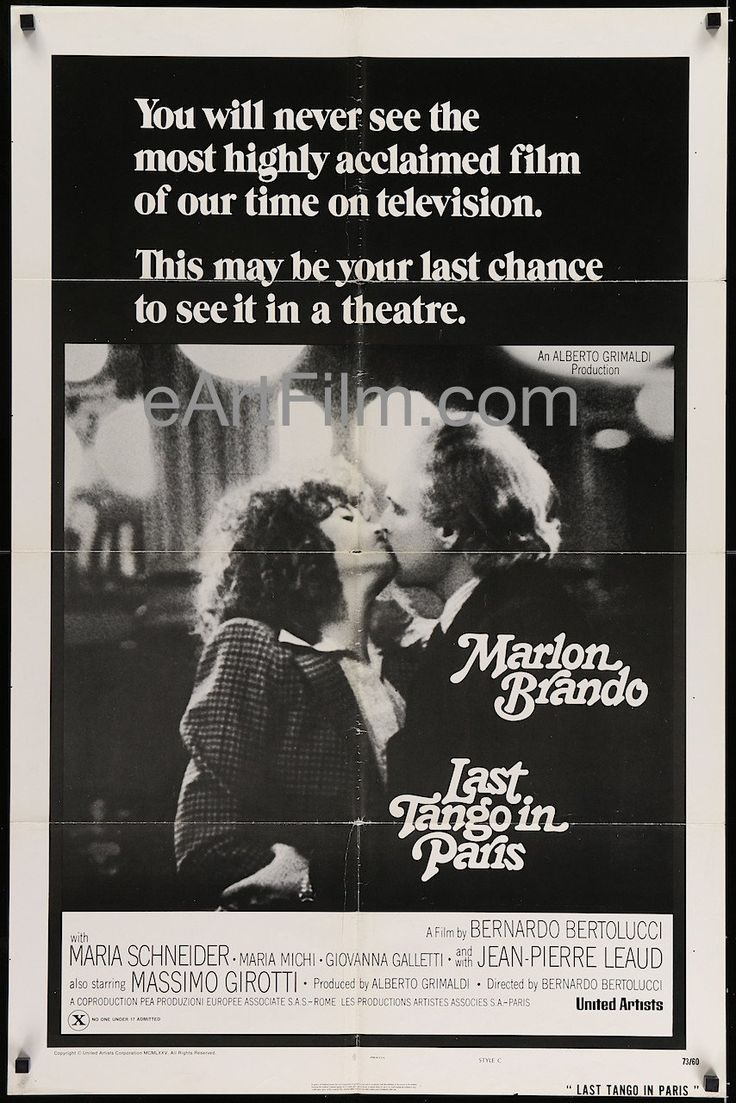 Ultimo tango a Parigi (released in the U.S. in 1973 as Last Tango in Paris), the classic 1972 Bernardo Bertolucci (nominated for the Best Director Academy Award) French/Italian sex melodrama starring