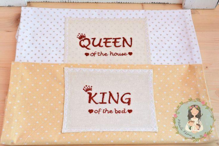 Set unicat de două fețe pentru perne, brodate manual | king and queen