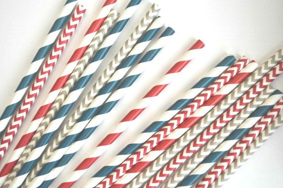 Red and Navy Nautical theme paper Straws // by TheSimplyChicShop, $4.00