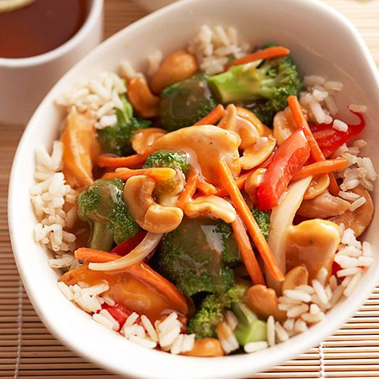 Easy to prepare Cashew Chicken. 15 minutes to prep and 6 hours in the slow cooker.
