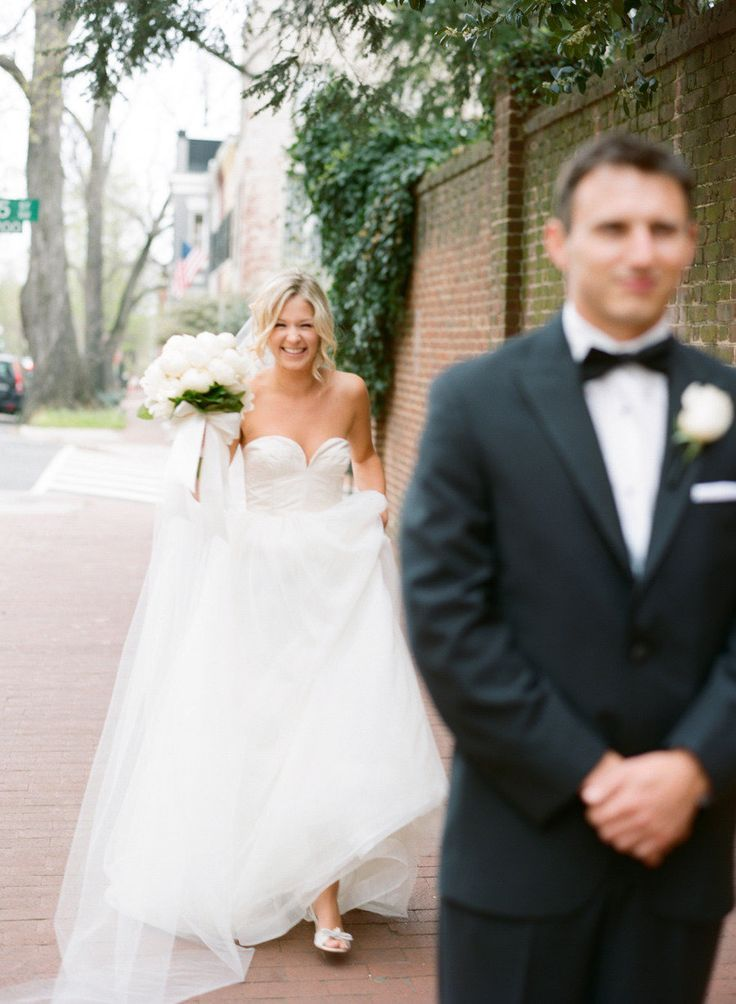 Beautiful Bride sneaking up on her Groom | Photography: Abby Jiu - abbyjiu.com Wedding Coordination: A. Dominick Events - adominick.com Floral Design: Yellow Door Floral Design - yellowdoor.com  View entire slideshow: Sweetest First Looks on SMP on http://www.stylemepretty.com/collection/286/