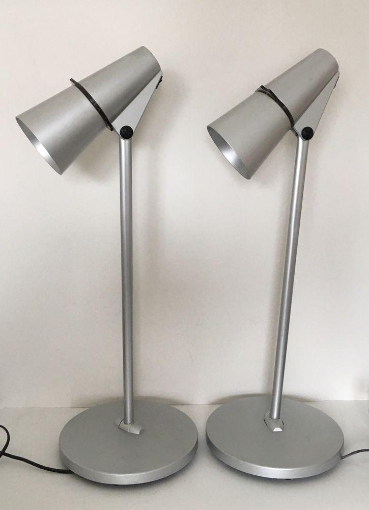 Pair Of Artemide Spy Lamps Silver Desk Lamp Designed By H