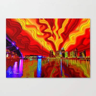 Fine art print on bright white fine poly cotton blend matte canvas using latest generation epson archival inks individually trimmed and hand stretched