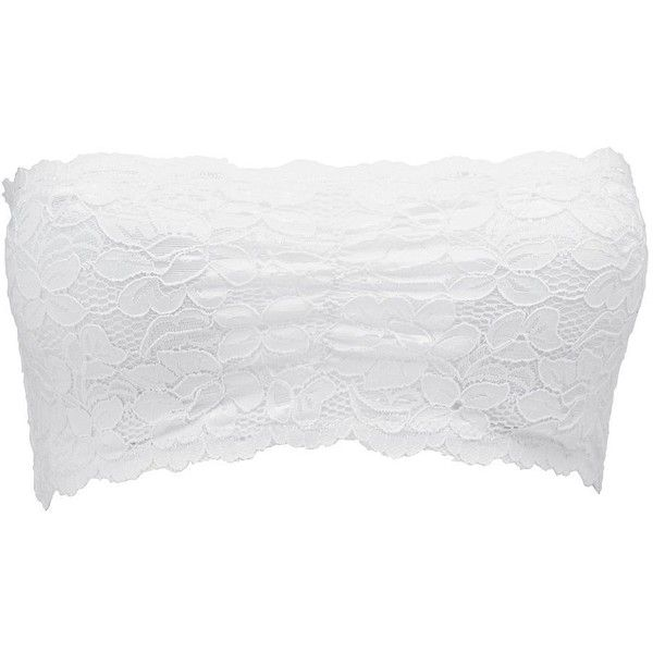 Charlotte Russe Lace Bandeau Bra ($8.99) ❤ liked on Polyvore featuring intimates, bras, white, lace bandeau bra, white bandeau bra, lacy bras, see-through bras and sheer bra