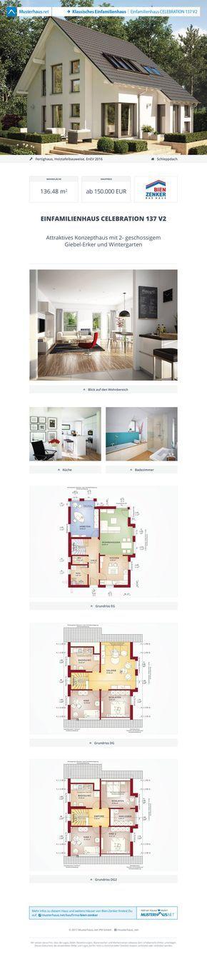 #Einfamilienhaus Celebration 137 V2 · Bien-Zenker · Jetzt bei #Musterhaus.net Unterlagen anfordern!