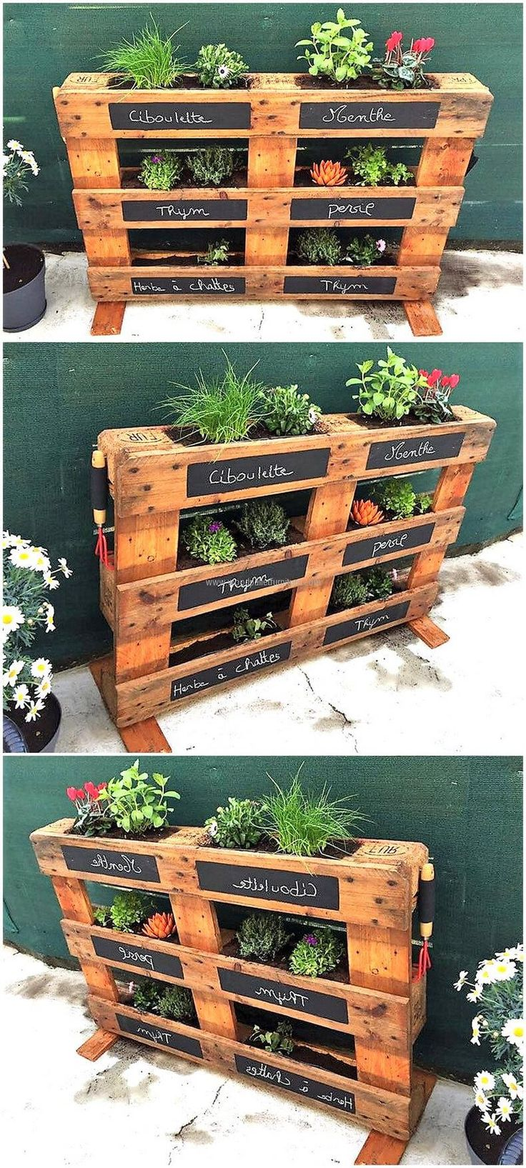 We have shown the reclaimed wood pallet herb planter idea here with which one can decorate the home with the herbs and flowers from inside as well because it will not create a mess. It can be copied for the lawn decoration as well.