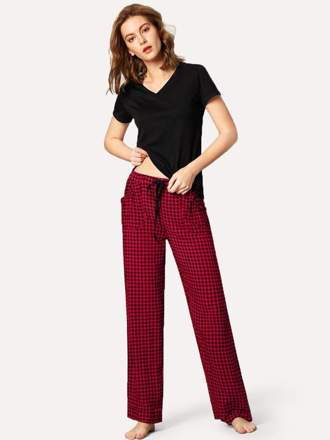 3cdef9df4f Shein Solid Top & Gingham Pants PJ Set #Top#Solid#Shein | Women's ...