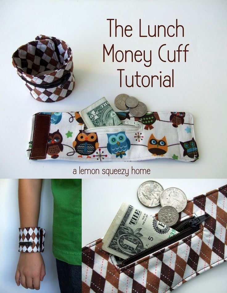 "This free sewing tutorial is for the ""Lunch Money Cuff"".  It's a great idea for all the little ones heading back to school."