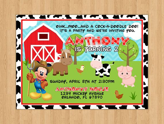 Farm Mickey Mouse Inspired Birthday Invitation 1st Birthday Parties Mickey Mouse Printed Cards