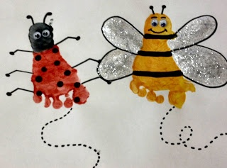 This is fabulous!  I wonder if my students would be willing to put their feet in paint!  Some of my kids are sensory sensitive, but this would tickle for anyone! Spring Art - Ladybug and Bee footprint art projects