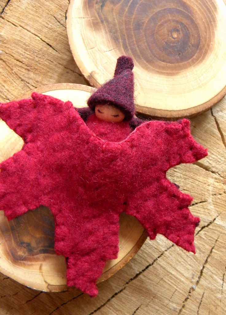 Maple Leaf Baby, Waldorf Baby, Fall, Autumn, Waldorf Gnome Playset, Ornament, Red, deep purple. $16.00, via Etsy.
