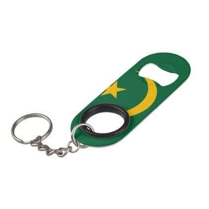 Mauritania Flag Keychain Bottle Opener - kitchen gifts diy ideas decor special unique individual customized