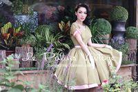 ENVÍO GRATIS Le Palais Vendimia Limitado elegante retro del color del golpe clásico con cuello en V vestido de cintura alta/puff/bola vestido